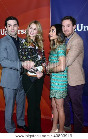 LOS ANGELES - JAN 7:  Sam Witwer, Meaghan Rath, Kristen Hager, Sam Huntington attends the NBCUniversal 2013 TCA Winter Press Tour at Langham Huntington Hotel on January 7, 2013 in Pasadena, CA