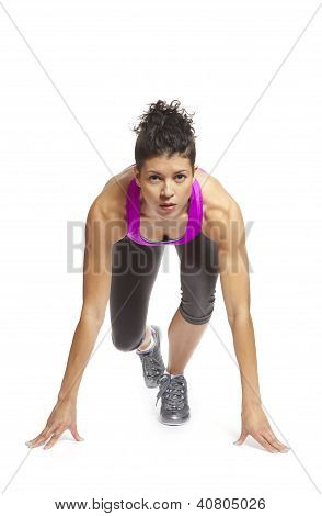 Muscular Young Woman Ready To Race In Sports Outfit