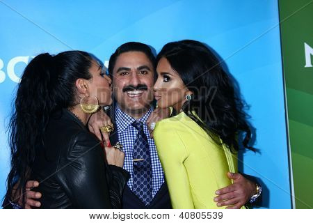 LOS ANGELES - JAN 7:  Asa Soltan Rahmati, Reza Farahan, Lilly Ghalichi attends the NBCUniversal 2013 TCA Winter Press Tour at Langham Huntington Hotel on January 7, 2013 in Pasadena, CA