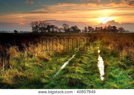 Sunrise Over Rural Road