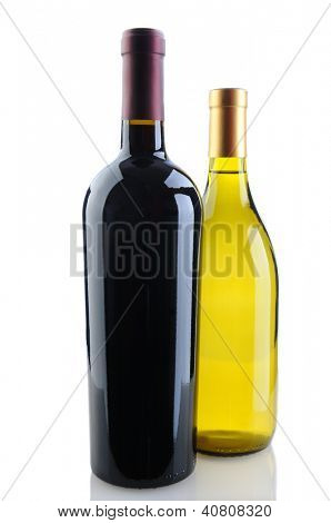 Close up of a cabernet sauvignon and chardonnay wine bottles on a white background with reflection. Chardonnay bottle is tucked behind the Cabernet bottle. Vertical Format.
