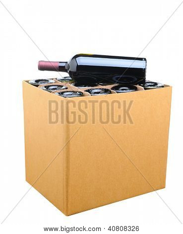 Closeup of a case of wine with one bottle resting on top. Isolated on white.
