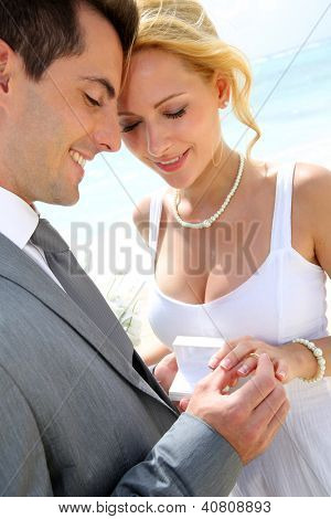 Bride and groom exchanging wedding rings