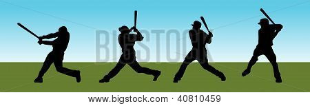 Baseball silhouettes of men batting