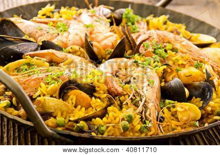 seafood paella closeup