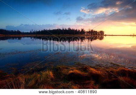 Sunset On Wild Lake In Dwingelderveld