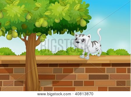 Illustration of a cat on a wall in a beautiful nature