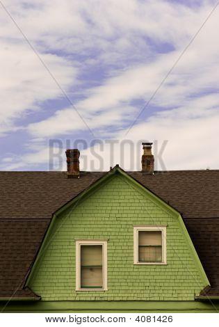 Green Dutch Colonial House