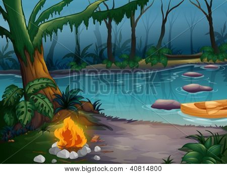 Illustration of a river and a camp fire in a scary jungle