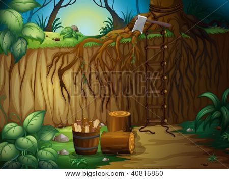 Illustration of wooden blocks and an axe in a beautiful forest