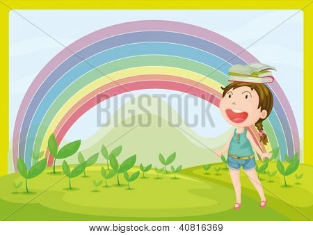 Illustration of a smiling girl and a rainbow in a beautiful nature