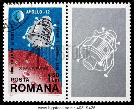 ROMANIA - CIRCA 1969: a stamp printed in the Romania shows Apollo 12 Landing Module, 2nd Landing on the Moon, Intrepid, circa 1969