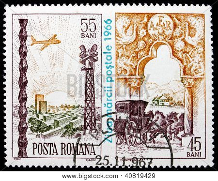 ROMANIA - CIRCA 1966: a stamp printed in the Romania shows Plane Aproaching Airport and Coach Leaving Gate, Stamp Day, circa 1966