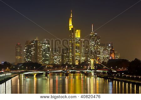 Frankfurt Financial District At Night