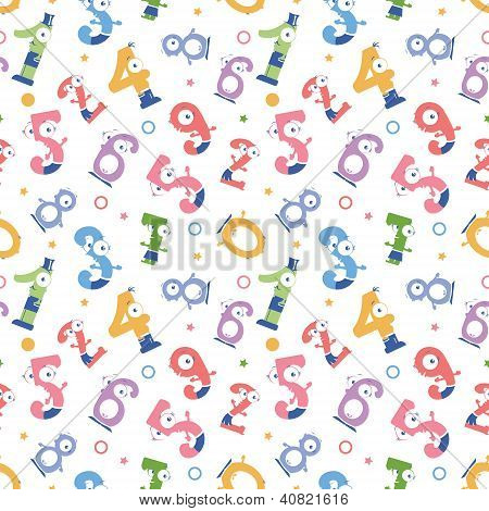 Fun numbers seamless pattern background