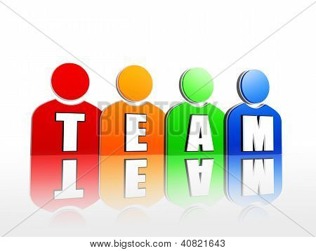 Team In Colorful Person Signs