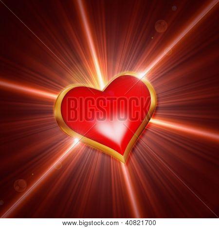Shining Red Heart