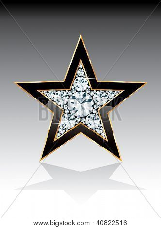 dark black golden star with diamonds, vector template for cosmetics, show business or something else