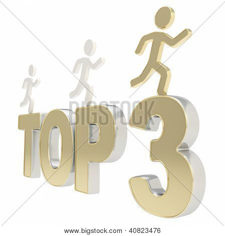 Human Running Symbolic Figures Over The Words Top Three