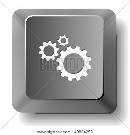 Gears. Vector computer key.