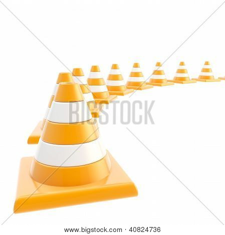 Roadworks Orange Cone Composition As Background