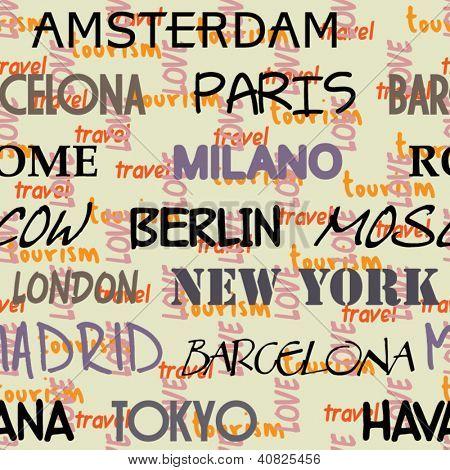 art seamless vector pattern background with love to Moscow, Paris, Milan, Berlin, London, Tokyo, Barcelona,  Amsterdam, Havana, Madrid, New York