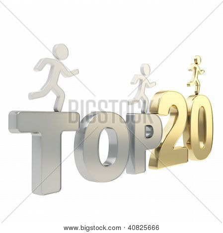 Human Running Symbolic Figures Over The Words Top Twenty