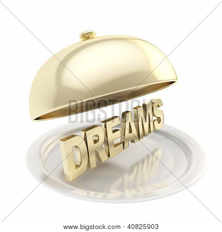 Word Dreams On Salver Plate Under The Food Cover
