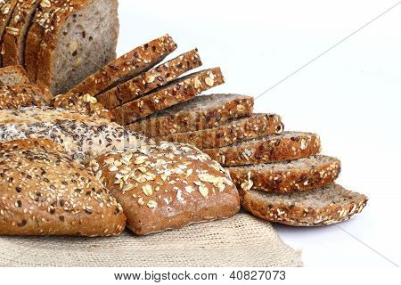 Differente Type Of Bread On White Background