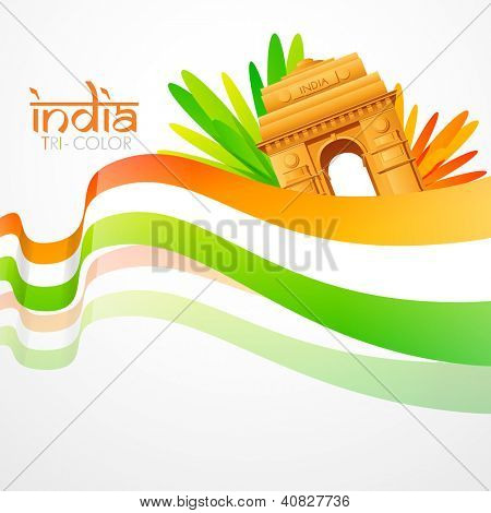 vector wave style indian flag with india gate