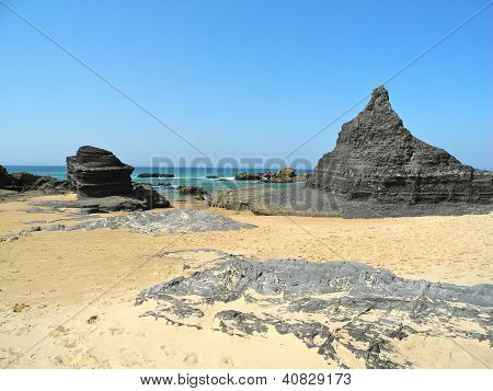 Rock Formations at Castelejo Beach, Portugal
