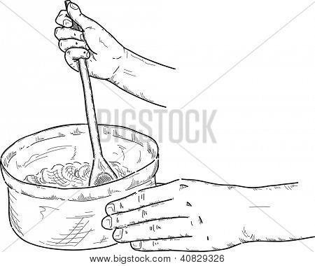 vector - Chef hands spoon batter mix