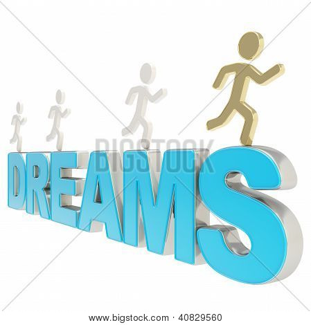 Human Running Symbolic Figures Over The Word Dreams