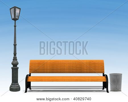 Bench And Street Lamp Over Blue Sky