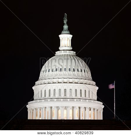 US Capitol Hill building dome detail at night - Washington DC, United States