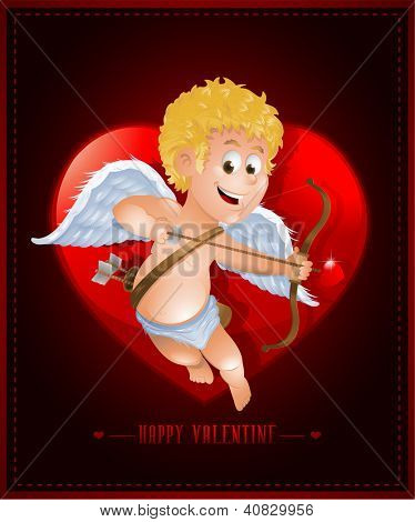 Valentine's Day card with cartoon cupid EPS10