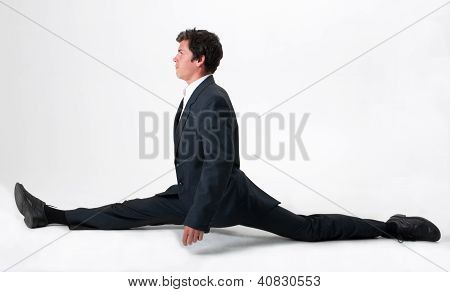 Good-looking Businessman Doing Splits
