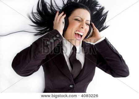 High Angle View Of Manager Wearing Headphone