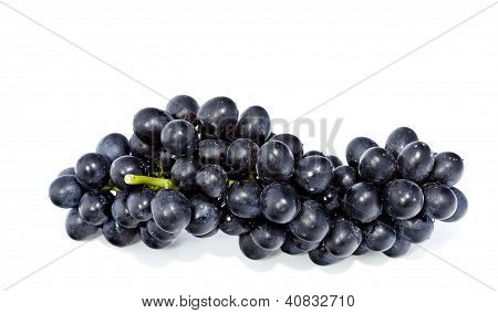 Black Grapes Isolated On A White