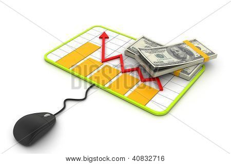 Financial Planning. Graph with a mouse and dollar banknotes.
