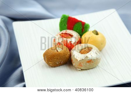 Assorted colorful sweets of India