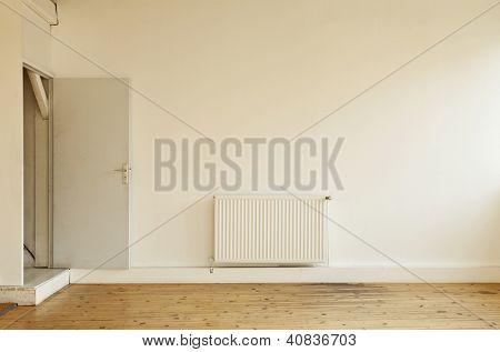 interior, wide loft parquet floor,  door