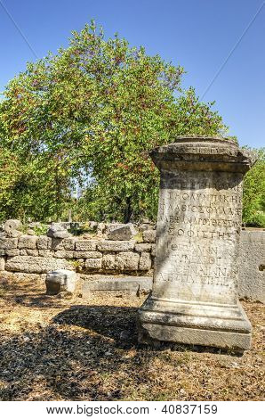 Greek Inscription At The Ancient Site Of Olympia, Greece