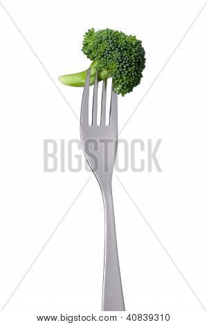 Broccoli Floret On Fork Isolated