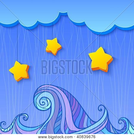 Shaded decoration with cloud and stars