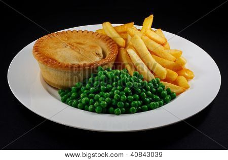 Pie And Chips With Peas.