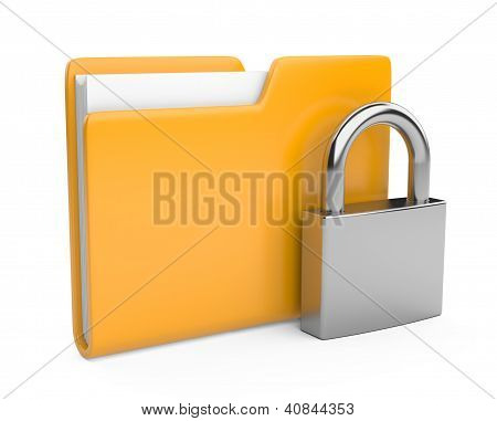Yellow folder and lock. Data security concept