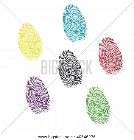 Six Color Prints Of Forefingers .vector Illustration