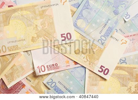 Pile Of Euro Bills For Spending