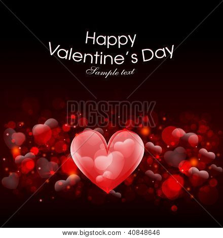 Valentin day, Greting card with heart and love